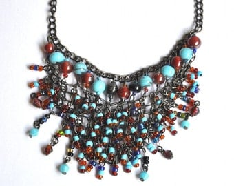 Vintage Glass Beaded Mesh Necklace - Tribal Beaded Net Necklace, Bohemian Fringe Necklace