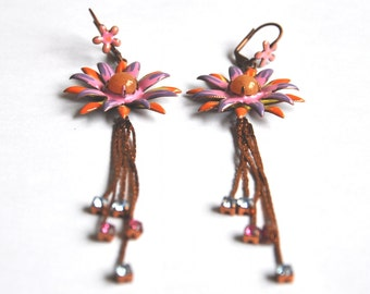 Vintage Enamel Flower Earrings - Boho OOAK Statement Earrings - Long Floral Dangles