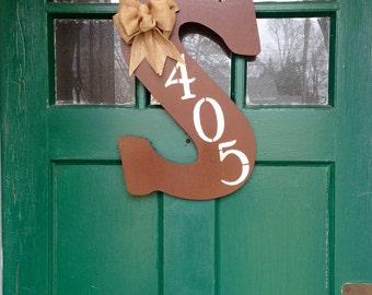 Monogram Door Hanger with Burlap Bow and Street Number (Flowers Optional)