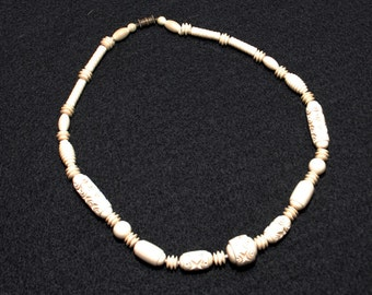 Vintage Faux Ivory Carved Bead Necklace
