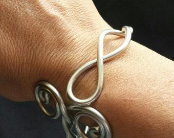 Silver Infinity Jewelry/Silver Bracelet Cuff/Flexible and Lightweight/Silver Solder Bracelet/LydiaZ/Fashion jewelry/Boho/Wire jewelry