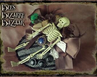 Steampunk Fascinator - Skeleton - Cosplay - Burlesque - Tweed - Goth