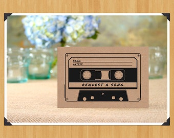 Printable Fill in the Blank Request A Song Cards for Weddings, 4x6, DIY, Instant Download, Printable PDF, Black and White