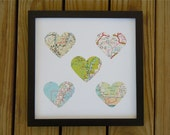 Framed Map Art - Five Maps - Choose Your Maps - Map Hearts - Custom Gift for Traveler - Heart Maps - Engagement, Wedding or Anniversary Gift