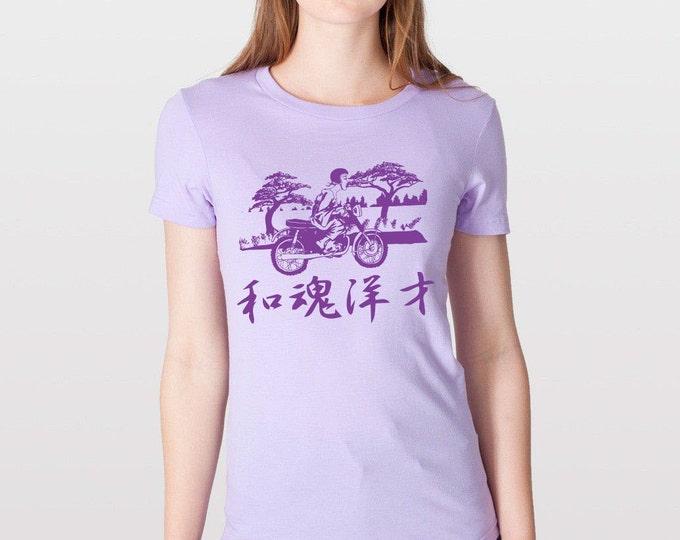 KillerBeeMoto: Japanese Lady On Motorcycle Short Sleeve Motorcycle Shirts (Womens) Printed on American Apparel Shirt
