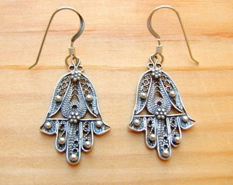 Sterling 925 Silver Earrings Vintage Style Hamsa Hand Protection