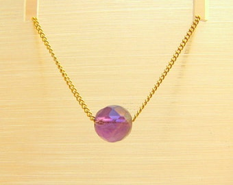 Gold Filled Necklace with Amethyst Gemstone Pendant Facet Ball