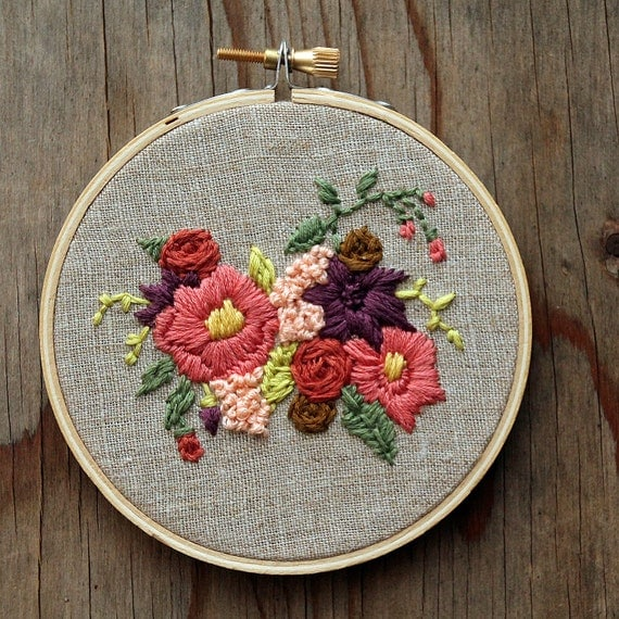 Pink and purple flowers embroidery hoop tan linen inch