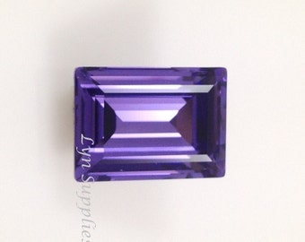4527 TANZANITE 18x13mm Swarovski Crystal Step Cut Fancy Stone, Rectangle Purple Crystal