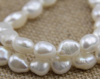9mm white color baroque pearl strand,freshwater nugget facet pearl bead,irregular pearl string,1.0mm,1.5mm,2.0mm,2.2mm large hole pearls