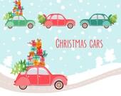 Winter clip art  Winter clip art Vintage car Christmas car Tree Christmas tree Holiday clip art Holidays clipart Digital Snow background PNG
