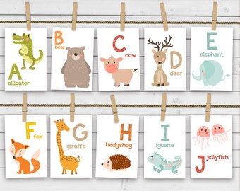 Animal alphabet card set - Alphabet flash cards - Printable - Nursery wall cards - ABC cards - Wall cards - INSTANT DOWNLOAD - Digital