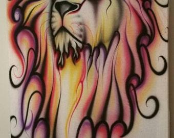 Colorful prideful lion art