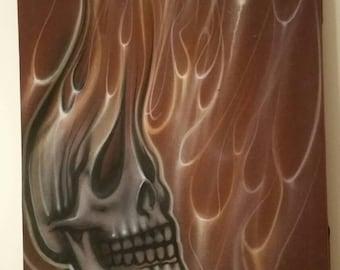 Brown skull art