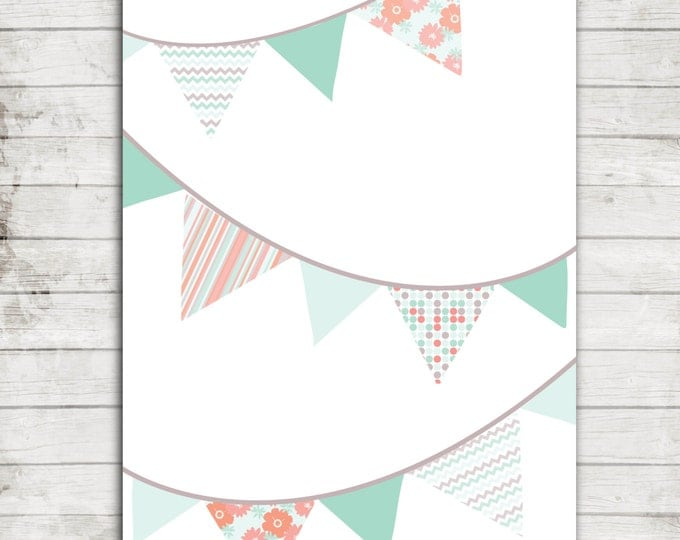 Pennant Flags- Patterned- Coral, teal, chevron, polka dots Printable JPEG file for Nursery Art 8x10 or 16x20 #202