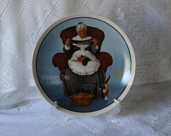 "Norman Rockwell's ""Rediscovered Women"" collectible plate series ""Mending Time"""