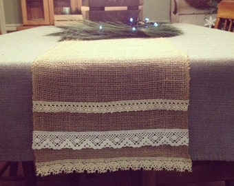 Burlap runner with lace 7ft