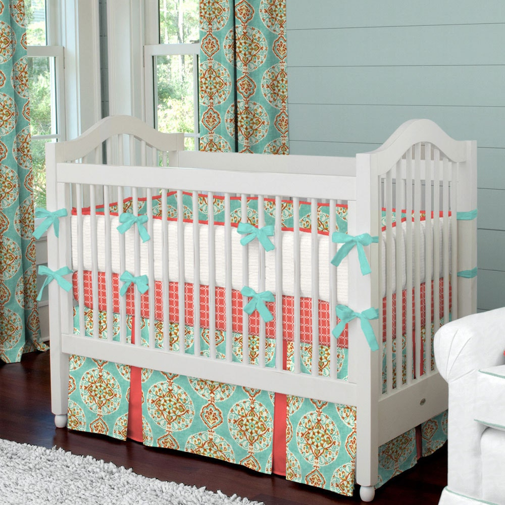 Girl baby crib bedding coral and aqua by carouseldesignsshop for Baby cribs decoration