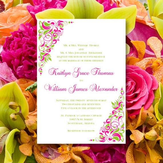 Printable Wedding Invitations Gianna Fuchsia Pink