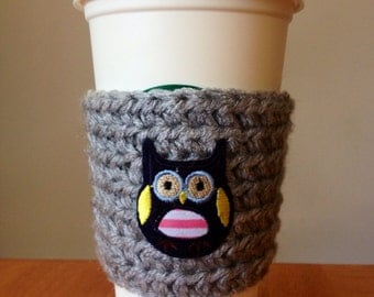Reusable Crochet/Knit Coffee Sleeve/Cozy in Light Grey with Owl Embellishment