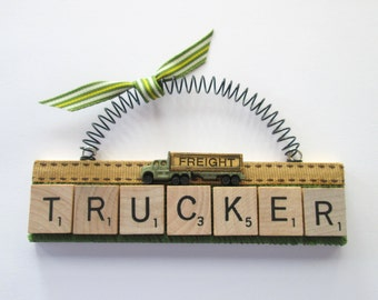 Trucker Freight Trucking Scrabble Tile Ornament