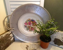 Large Vintage Farberware Aluminum and China Serving Tray