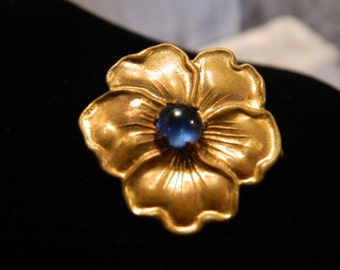 Antique Gold Tone Metal Pansy Pin Blue Stone Center