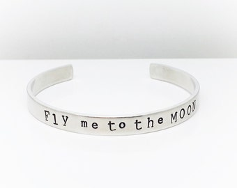 Fly Me To The Moon | Womens gift  Personalized Gift | HandStamped Gift | Personalized Bracelet | Hand Stamped Jewelry By Glam and Co (C120)