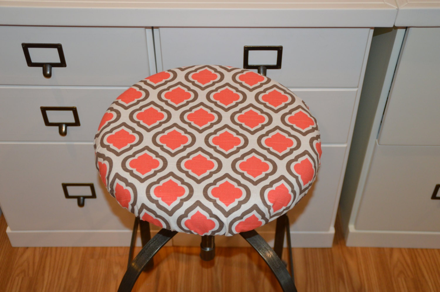 Elasticized round barstool cover seat cushion cover counter stool cover coral with brown zoom