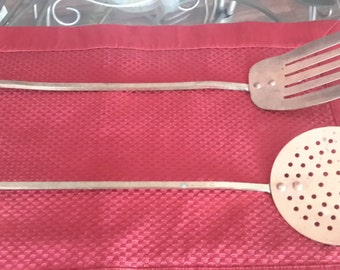 25% OFF SALE! Antique Copper and Brass Cooking Utensils, kitchen decor, Rustic