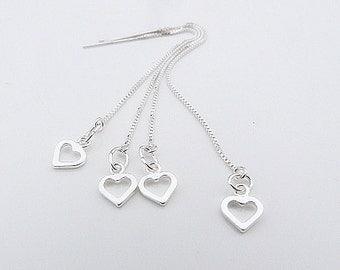hearts threader earrings in 925 silver