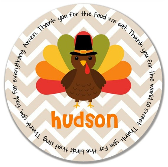 Personalized Melamine Plate - Personalized Kids Plate - Personalized Childrens Plate - Thanksgiving Plate - Turkey Plate - Chevron Turkey