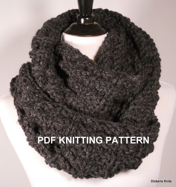 PDF KNITTING PATTERN Ladders Chunky Infinity Scarf by DickensKnits
