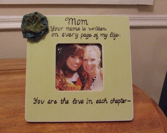 Personalized GIFT frame for Mom Mother Christmas gift for mother Picture frame Mom Frame Quote for mother pale green frame Keepsake gift