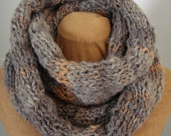 Wool and Camel Down Gray and Orange Knit Infinity Scarf, Natural Hand-spun Wool/ Camel Down Yarn