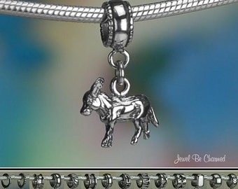 Donkey Burro Charm or European Style Charm Bracelet Sterling Silver