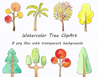 Watercolor tree clipart, Hand drawn,  Watercolour clipart, PNG Clip art, Personal and Commercial Use