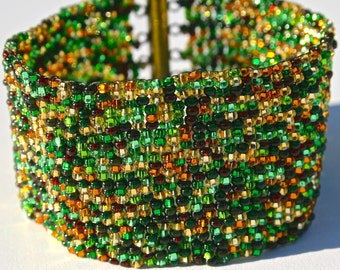 Green, yellow, amber, brown wide cuff bracelet  Perfect for St. Patrick's Day