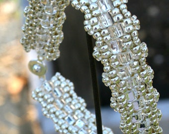 Silver Color Woven Beaded Bracelet