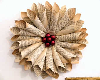 Book Star, vintage book paper wreath, upcycled book decoration, Valentine's day. paper flower, door wreath, recycled paper, wedding