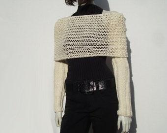 Long Sleeve Shrug-Knitted Shrug-Loose Knit Shrug-Knit Shrug Bolero-Knit Shrug-Handknit Shrug-Chunky Knit Shrug-Bolero Shrug-Creme Shrug