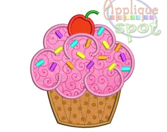 Cupcake Birthdy Girl - 4 sizes included 2x2  4x4  5x7  6x10 Applique Design Embroidery Machine -Instant Download File