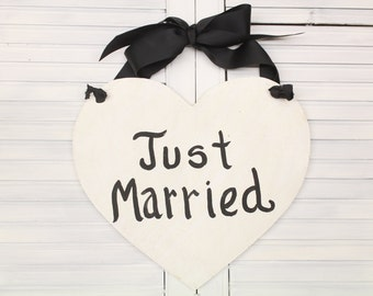 Just Married Heart Hand Painted Wood Sign