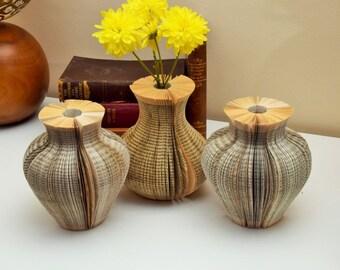 Paper Vase Book Art - Holds Water - unusual unique handmade - books Flower holder - paper vase - book vase - flower vase - Anniversary gift