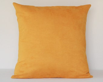 Pillow Cover Golden, Mustard Yellow Pillow, Suede Pillow, 16x16 Pillow