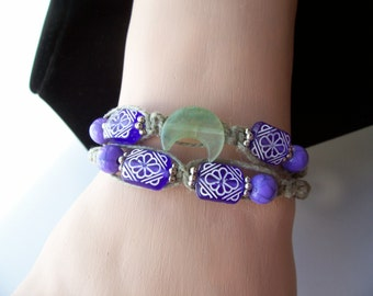 Macrame Hemp Bracelet with Green Aventurine Moon and Purple Acrylic Beads/ up to 7-1/2 inches