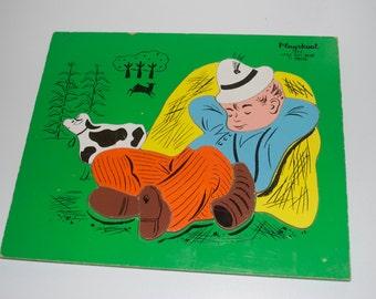 Playskool Little Boy Blue Wooden Wood Pre-School Puzzle