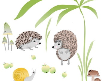 Nursery Wall Decal, Kids wall Decal, Girls and Boys Room Decor,  Wall Decal Porcupines and Snail Scene.