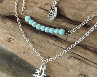 Ladies Multi-strand chain necklace with chinese coin and chinese symbol with 9 turquoise jade bead