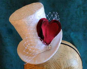 Bridal Mini Top Hat with Red Heart and Veil - Valentine's Day Mini Top Hat - Tea Party Mini Top Hat - Made to Order